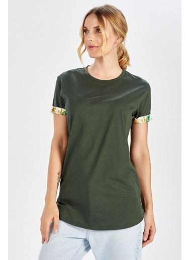 Peraluna Peraluna Kol Ucu Desenli Uzun Haki Renk Pamuklu Kadın T-Shirt Haki